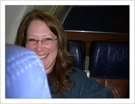 Shelly on the Flight to Vegas